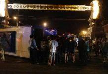 Kondisi bus peziarah yang terguling akibat kecelakaan dengan truk tronton. (Musyafa)